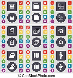 Crown, Wallet, Connection, Upload file, Gallery, House, Cloud, Map, Wrist watch icon symbol. A large set of flat, colored buttons for your design. Vector
