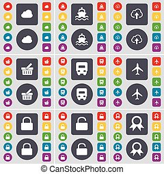 Cloud, Ship, Basket, Truck, Airplane, Lock, Medal icon symbol. A large set of flat, colored buttons for your design. Vector
