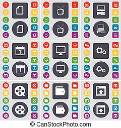 Fire, Retro TV, Laptop, Calendar, Monitor, Gear, Videotape, Wallet, Window icon symbol. A large set of flat, colored buttons for your design. Vector