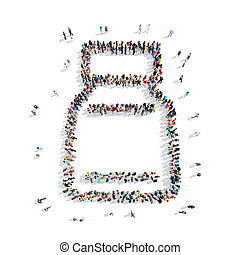 people bottle medicine - A group of people in the shape of a...