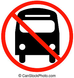 bus with not allowed symbol - no bus parking or buses not allowed in this lane