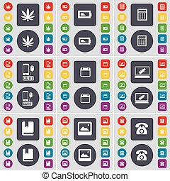 Marijuana, Battery, Calculator, Smartphone, Calendar, Laptop, Dictionary, Window, Retro phone icon symbol. A large set of flat, colored buttons for your design. Vector
