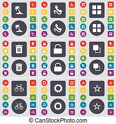 Palm, Receiver, Apps, Trash can, Lock, Copy, Bicycle, Gear, Star icon symbol. A large set of flat, colored buttons for your design. Vector