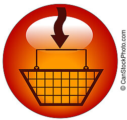 shopping basket with plus arrow in icon - add to shopping cart
