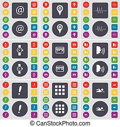 Mail, Checkpoint, Pulse, Wrist watch, Credit card, Talk, Exclamation mark, Apps, Swimmer icon symbol. A large set of flat, colored buttons for your design. Vector