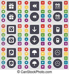 Gift, Rewind, Calendar, Socket, Arrow down, Mobile phone, Hard drive, Tree, Arrow up icon symbol. A large set of flat, colored buttons for your design. Vector