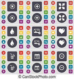 Stop, Plus, Full screen, Drop, Picture, Heart, Trash can, Calendar, Minus icon symbol. A large set of flat, colored buttons for your design. Vector