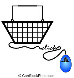 shopping basket connected to computer mouse - internet shopping concept