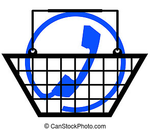 shopping basket with phone connection symbol