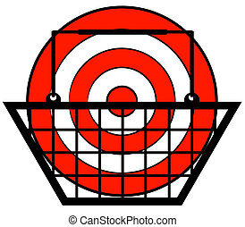 shopping basket with target in inside - retail concept