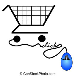 shopping cart connected to computer mouse - internet shopping concept