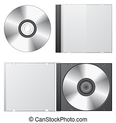 cd box set. - cd disk and cd box, isolated on white...