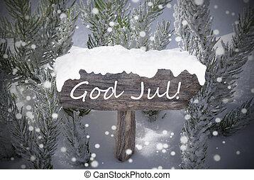 Sign Snowflakes Fir Tree God Jul Mean Merry Christmas -...