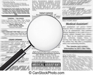 Your text here - Blank magnifying glass over newspaper....