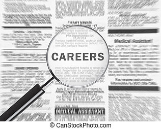 Careers - Magnifying glass over the word careers in the...