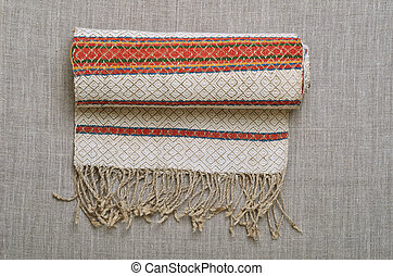 Homespun woven towel - Ukrainian rushnyk is decorated with...