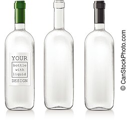 Set realistic glass bottles - Transparent realistic glass...