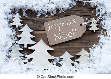 Label Trees Snow Joyeux Noel Mean Merry Christmas - Brown...