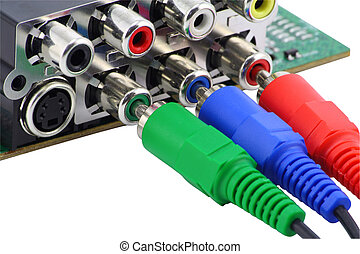 RGB video connectors - Red, blue and green connectors are...