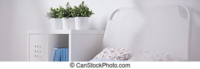 Simple bed with headboard - Panorama of simple bed with...