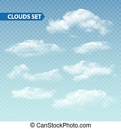 Set of transparent different clouds. Vector. - Set of...