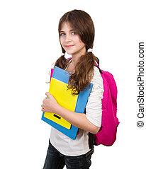 Cute schoolgirl portrait - Portrait of cute schoolgirl with...