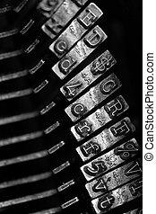 Old Typewriter Striker Keys - Detail closeup of old...