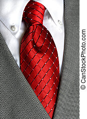 White Shirt Red Tie - White dress shirt with red tie...