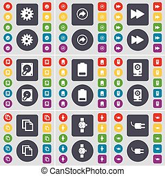 Gear, Back, Rewind, Hard drive, Battery, Speaker, Copy, Wrist watch, Socket icon symbol. A large set of flat, colored buttons for your design. Vector