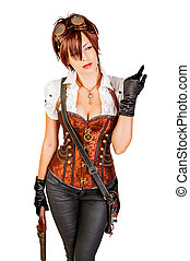 Portrait of a beautiful steampunk woman wearing vintage...