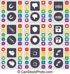 Magnet, Dislike, Keyboard, Link, Badge, Floppy, Heart, Retro TV, Ink pot icon symbol. A large set of flat, colored buttons for your design. Vector