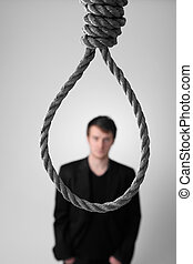 failure businessman noose - businessman in front of noose or...