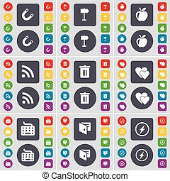 Magnet, Signpost, Apple, RSS, Trash can, Heart, Keyboard, Wallet, Flash icon symbol. A large set of flat, colored buttons for your design. Vector