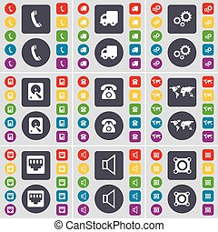 Receiver, Truck, Gear, Hard drive, Retro phone, Globe, LAN socket, Sound, Speaker icon symbol. A large set of flat, colored buttons for your design. Vector