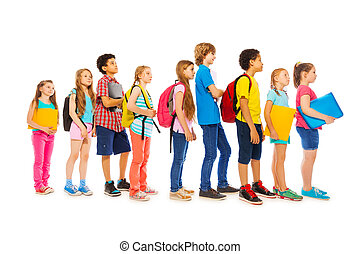 School kids with backpacks and textbooks - Happy children...