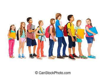 Group of kids in a line side view - Group of kids boys and...