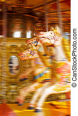 carousel or horse merry-go-round from funfair