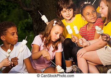 Kids with campfire treat during camping - Kids with...
