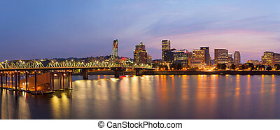Portland City Skyline at Twilight Panorama - Portland Oregon...