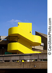 concrete building yellow staircase southbank london -...