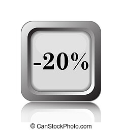 20 percent discount icon Internet button on white background...
