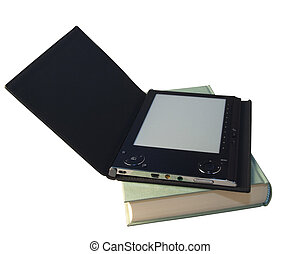 eBook reader over book - An eBook reader with open cover...