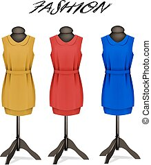 Fashion background with colorful dresses.