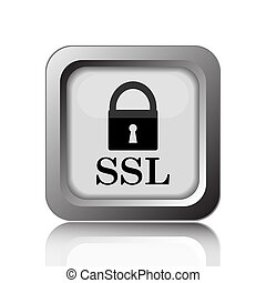 SSL icon. Internet button on white background.