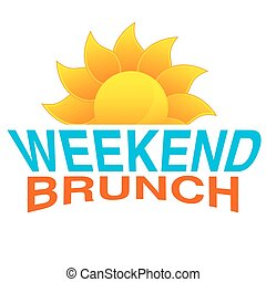 Weekend Brunch Text Icon - An image of a weekend brunch text...