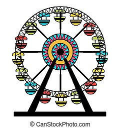 Abstract Ferris Wheel Icon - An image of a colorful ferris...