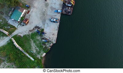 Aerial Survey of The River With Ships - Aerial Survey...