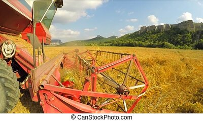 Combine Harvester Mowing Crop In Wheat Field - CLOSE UP:...