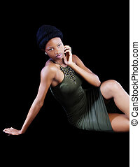 Attractive Young African American Woman Sitting Green Dress