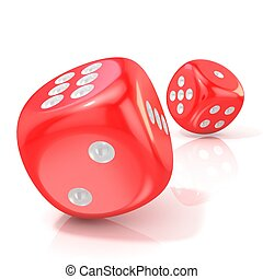 Two red game dices. 3D render